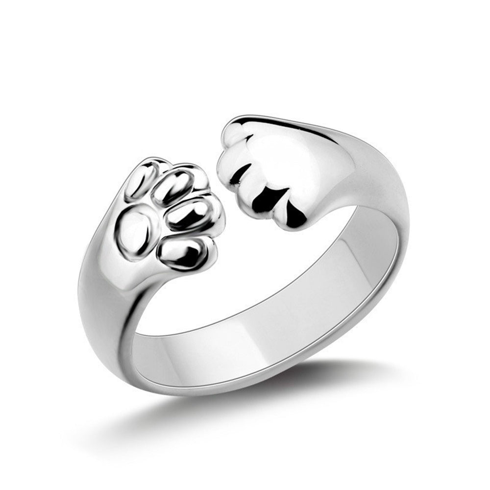 925 Silver adorable Cat claw wrap RingSILVER / ONE-SIZE