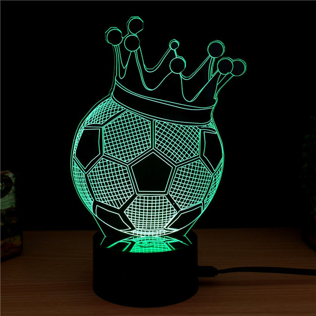 Coupcou.com: Football Crown  Gift Advertising Promotion LED Touches The Color-Changing 3D Lamp USB Creative Nightlight
