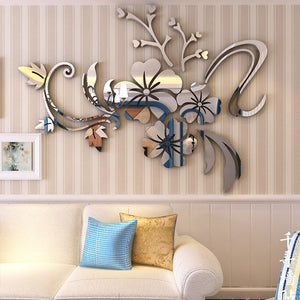 Coupcou.com: 3D Stereo Flower Wall Mirror Wall Stickers