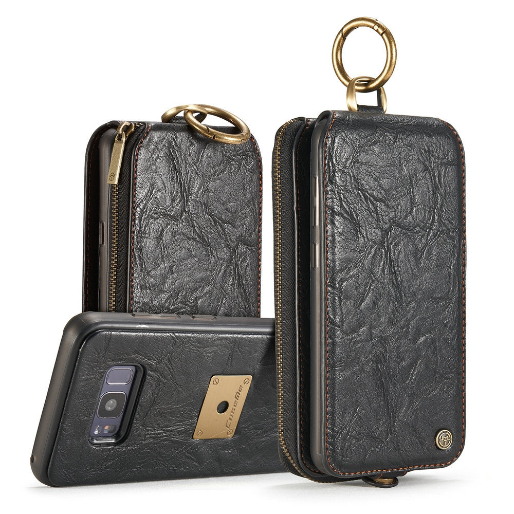 CaseMe for Samsung Galaxy S8 Magnetic Detachable Wallet Case with 14 Card Slots and Zipper Cash ...BLACK