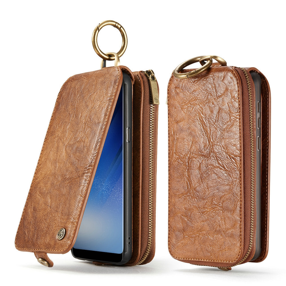 CaseMe for Samsung Galaxy S8 Magnetic Detachable Wallet Case with 14 Card Slots and Zipper Cash ...BROWN