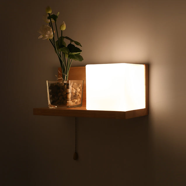 Coupcou.com: Lazada Wood Wall Light with Frosted Glass for Living Room Bedroom