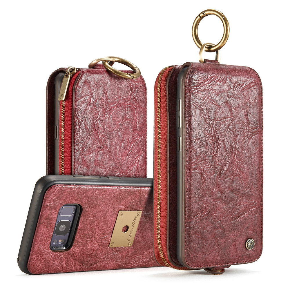 CaseMe for Samsung Galaxy S8 Magnetic Detachable Wallet Case with 14 Card Slots and Zipper Cash ...RED