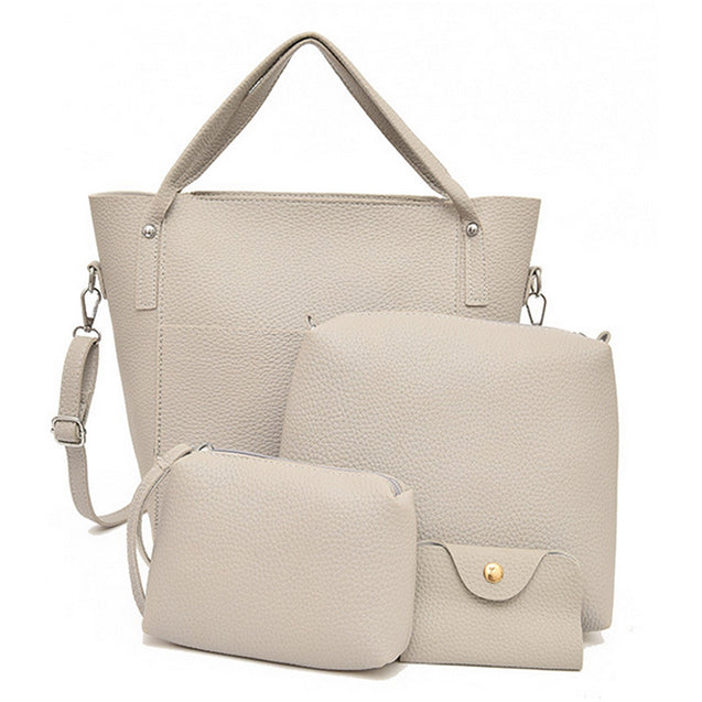 Coupcou.com: Women's Handbag solid Color Large Capacity Lichee Pattern Bags Set