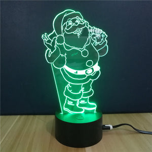 Coupcou.com: Christmas Gift Advertising Promotion LED Touches The Color-Changing 3D Lamp USB Creative Nightlight  Santa Claus