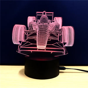 Coupcou.com: Racing  Gift Advertising Promotion LED Touches The Color-Changing 3D Lamp USB Creative Nightlight
