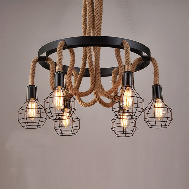 Coupcou.com: E27 / E26 Base Nordic Hemp Rope Twine Retro Vintage Pendant Light Fixtures MS - 32