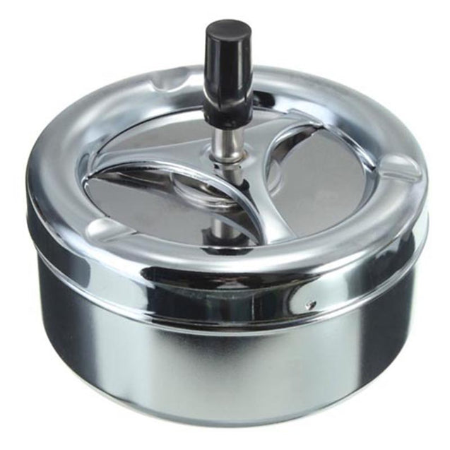 Coupcou.com: Hoard Rotation Ashtray Push Down Spinning Black Plain Cigarette Stainless Steel Smoke Set