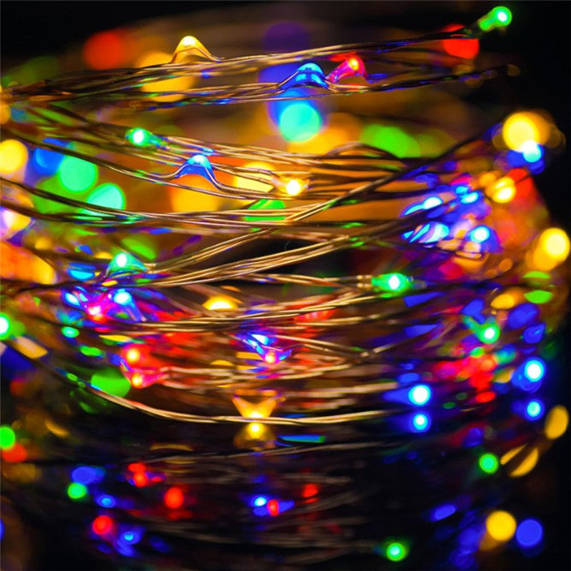 AY - hq219 10M 100 LED Copper String Lights with USB for Festival DecorationCOLORFUL