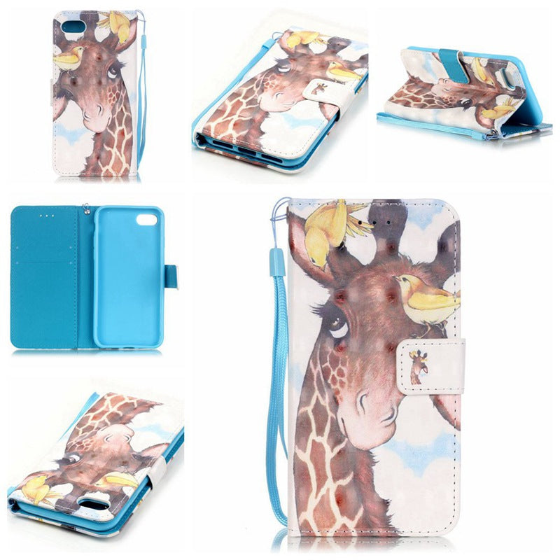 Bird Deer 3D Painted Pu Phone Case for Iphone 8 / 7COLORMIX