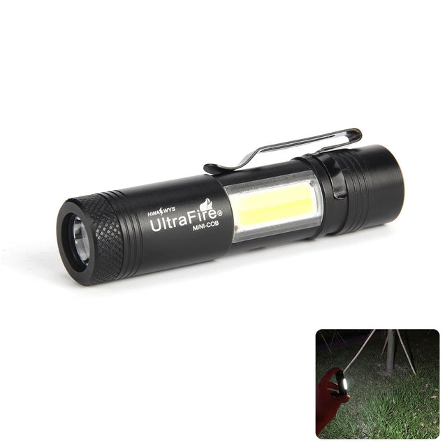 Coupcou.com: UltraFire MINI - COB 250 Lumens XPE 4 - Speed Clip Flashlight Kit