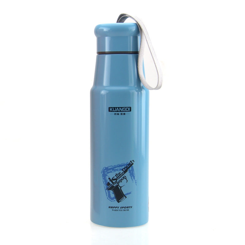 Creative Bowling Style Stainless Steel Vacuum CupBLUE / 390ML