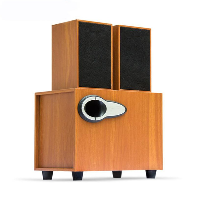 Coupcou.com: USB Wired Wooden Stereo Speaker System for PC Laptop Mobilephone