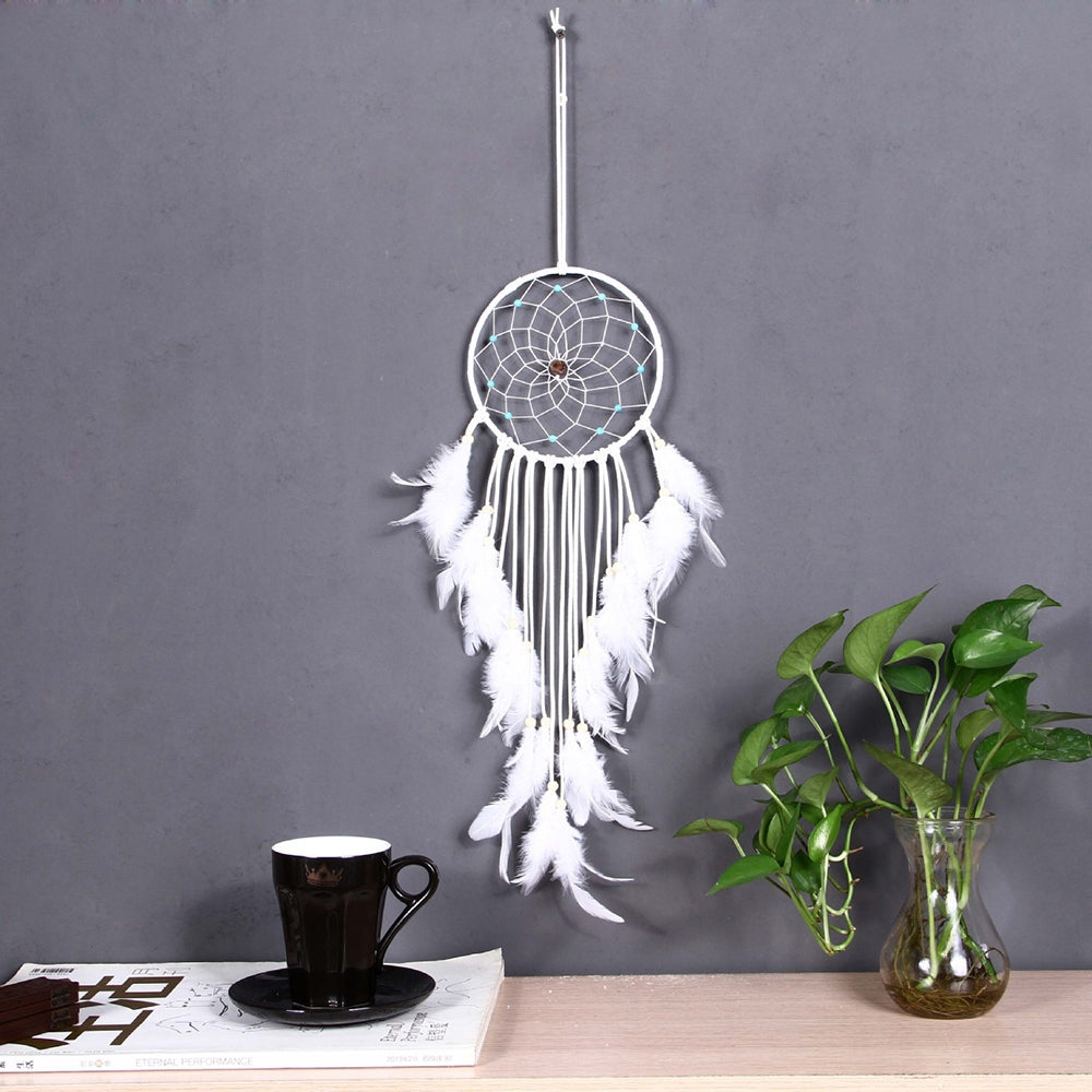 Bosnia Style Dreamcatcher with Feather Polycyclic Dream Catcher Wall Hanging Decoration Pendant ...WHITE