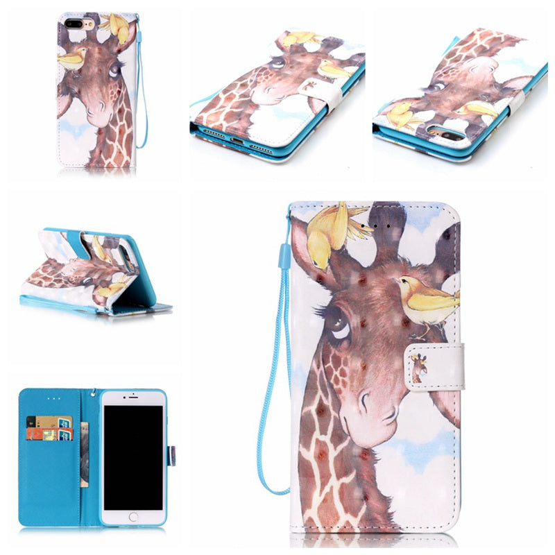Bird Deer 3D Painted Pu Phone Case for Iphone 8 Plus / 7 PlusCOLORMIX
