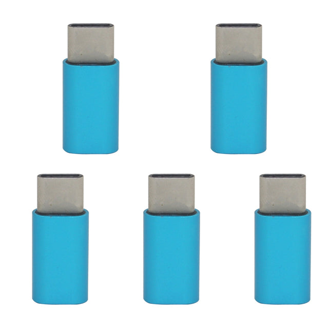 Coupcou.com: Mini Smile 5PCS Aluminium Alloy USB 3.1 Type-C To Micro USB Data Sync Charging Adapters Converters