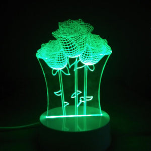 Coupcou.com: Three Beautiful Roses Shape 3D Flowers Led Light 7 Colors Led Night Desk Lamps for Couples