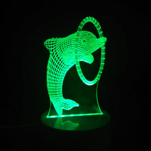 Coupcou.com: Cartoon Dolphin Through Ring 3D LED Table Light Full Color Led Lamp for Kids Room Decoration
