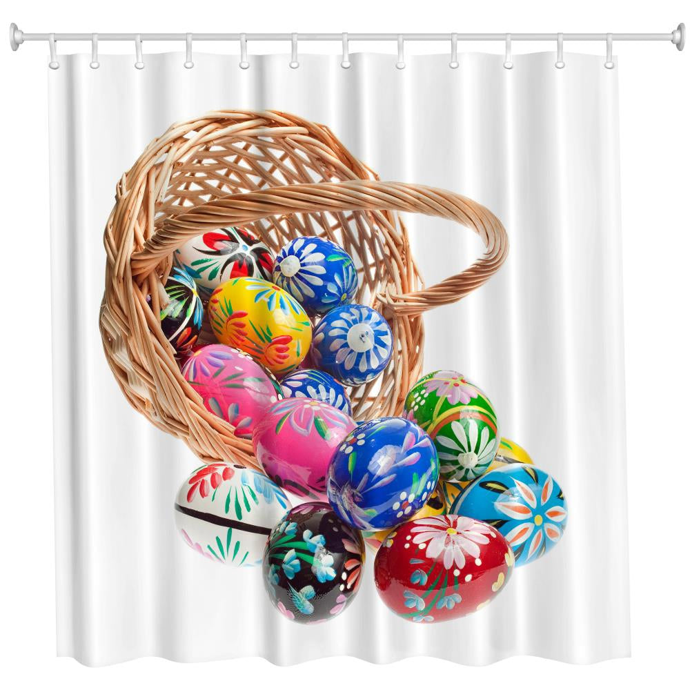 Basket Egg Polyester Shower Curtain Bathroom Curtain High Definition 3D Printing Water-ProofCOLORMIX / W59 INCH * L71 INCH