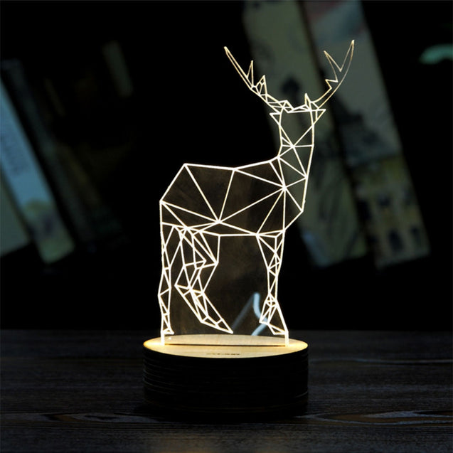 Coupcou.com: BRELONG 3D LED Night Light Table Desk Room Lamp Home Decoration Light-Elk