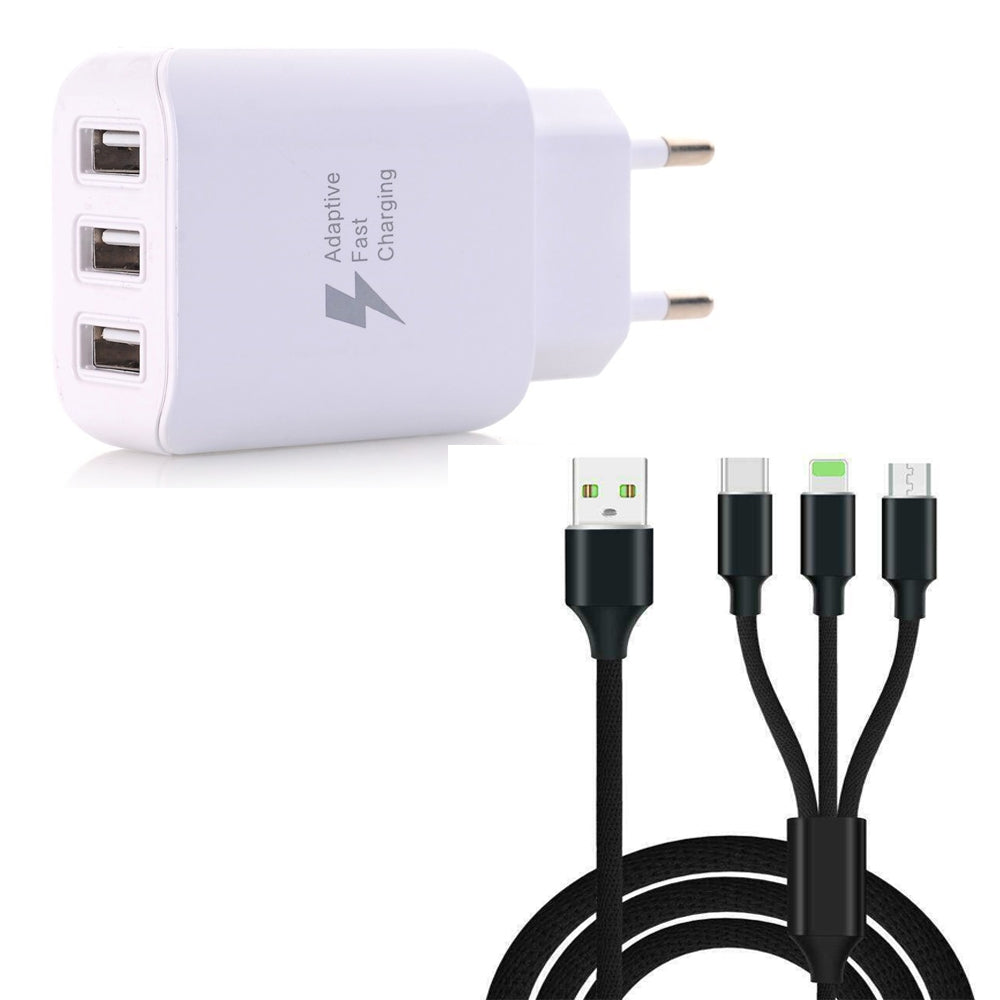 3 in 1  Type-C + 8 Pin + Micro USB Data Charging Cable+3 USB Fast Wall Charger for iPhone / Sams...BLACK / WHITE
