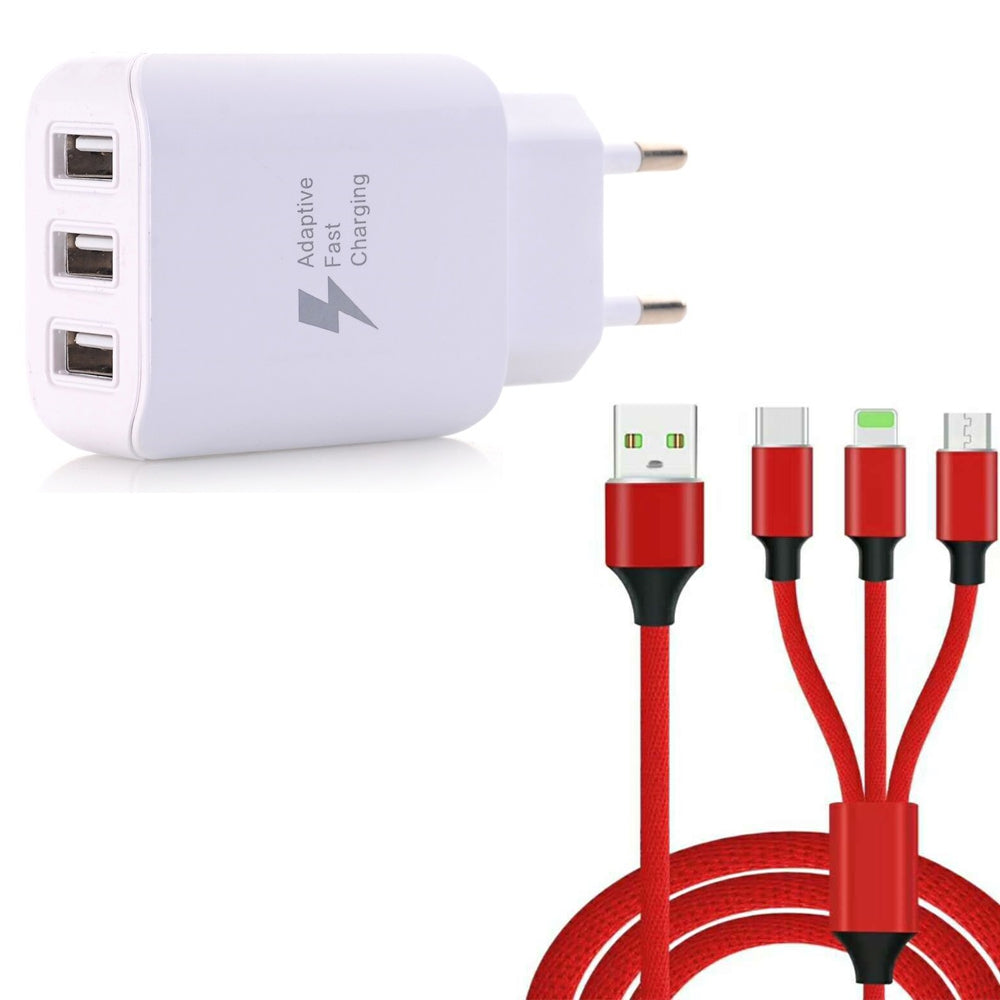 3 in 1  Type-C + 8 Pin + Micro USB Data Charging Cable+3 USB Fast Wall Charger for iPhone / Sams...WHITE + RED