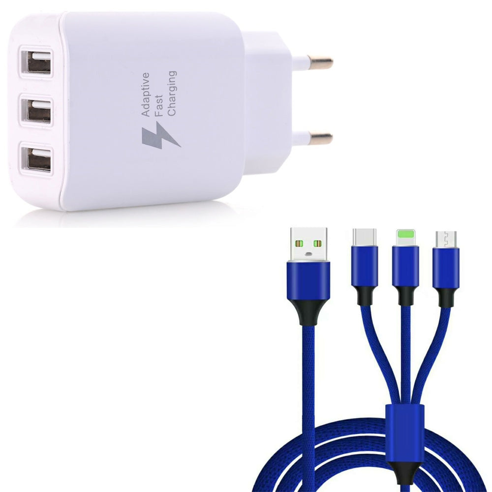 3 in 1  Type-C + 8 Pin + Micro USB Data Charging Cable+3 USB Fast Wall Charger for iPhone / Sams...BLUE AND WHITE