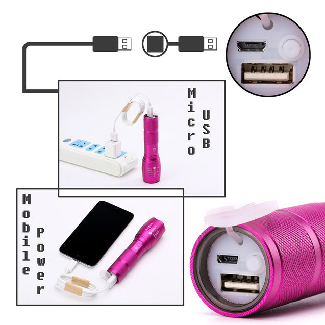 Coupcou.com: U`King Xml T6 1000LM 3 Mode Built-In Battery Multifunction Rechargeable Flashlight Torch Set
