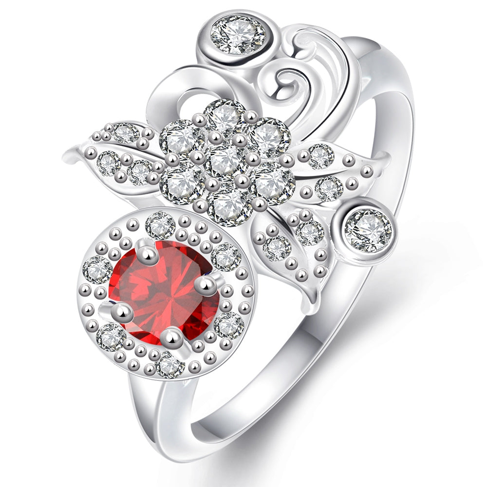 925 Silver Plated Fashion Ring for Women Jewelry Accessories Nickle FreeSILVER PLATED RED / 7