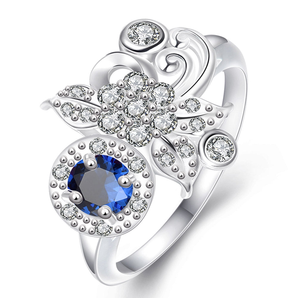 925 Silver Plated Fashion Ring for Women Jewelry Accessories Nickle FreeSILVER PLATED BLUE / 8