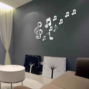 Coupcou.com: Musical Notes Acrylic Mirrors Wall Home Decor 10pcs