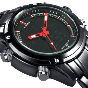 Coupcou.com: NAVIFORCE NF9050 Luxury Dual Movt Men Quarz Watches Analog Digital LED Sport Military Wrist Watch Chronograph