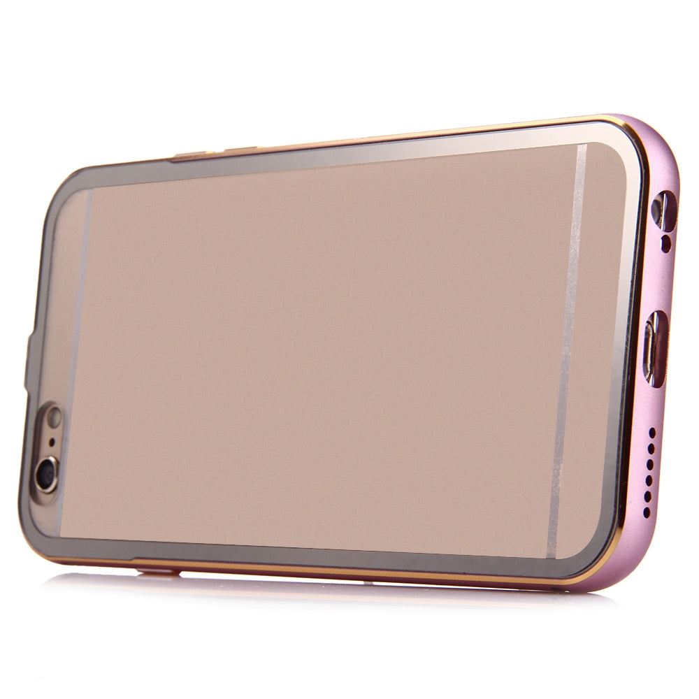 2 in 1 Ultrathin Detachable Metal Bumper Transparent Back Case Cover for iPhone 6 Plus 6s PlusPINK