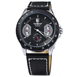 Coupcou.com: Men Automatic Mechanical Movement Watch with Round Dial and Leather Watch Band