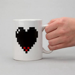 Coupcou.com: Pixel Heart Heat Changing Mug