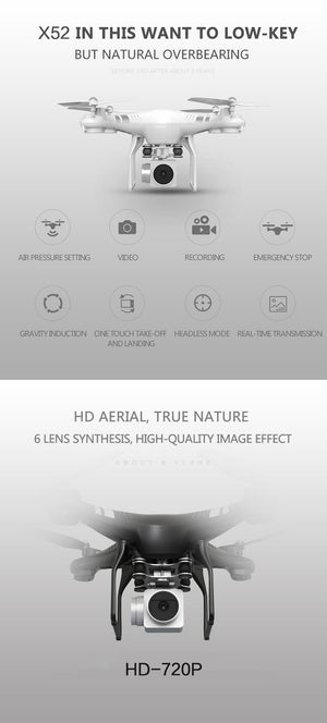 Coupcou.com: X52HD RC Drone RTF with 720P HD Camera / One Key Auto Return / Height Holding