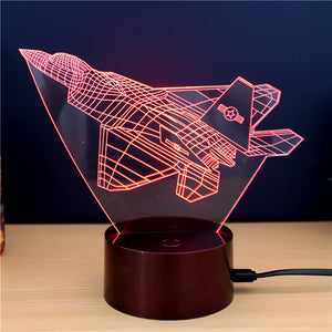 Coupcou.com: Fighter plane  Gift Advertising Promotion LED Touches The Color-Changing 3D Lamp USB Creative Nightlight