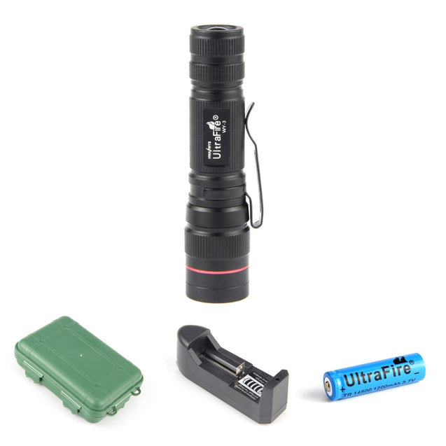 Coupcou.com: Ultrafire XPE R2 389LM 3-Step Compact Retractable Flashlight Waterproof Box Set