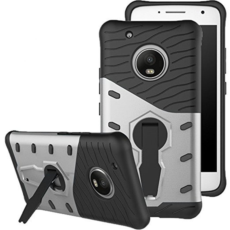 Cover Case for Moto G5 Plus Dual Layer Heavy Duty Hybrid Combo Shock-Resistant Full Body Protect...SILVER