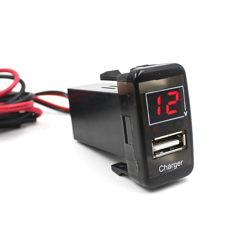 2 in 1 USB Interface Socket Car Charger and Voltage Meter Battery Monitor UseBLACK