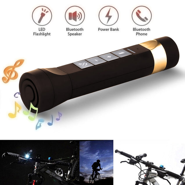 Coupcou.com: Youoklight 1PCS 1W 5V Cool White Bluetooth Multi-Function Bike Bluetooth Speaker+Mobile Power Bank+Led Flashlight+Bluetooth Call+Fm Radio+Support The Tf Card Contains 18650 Lithium Batteries