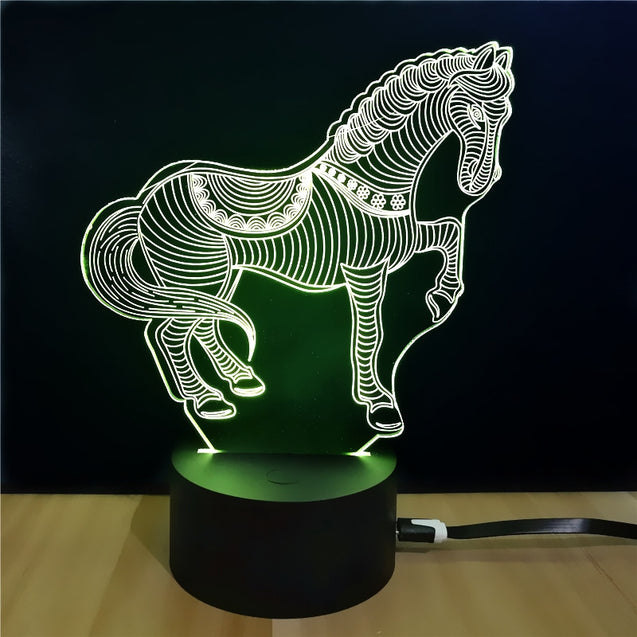 Coupcou.com: Shining Td068 Creative Gift 7 Color Changing Horse Style Touch 3D LED Night Light