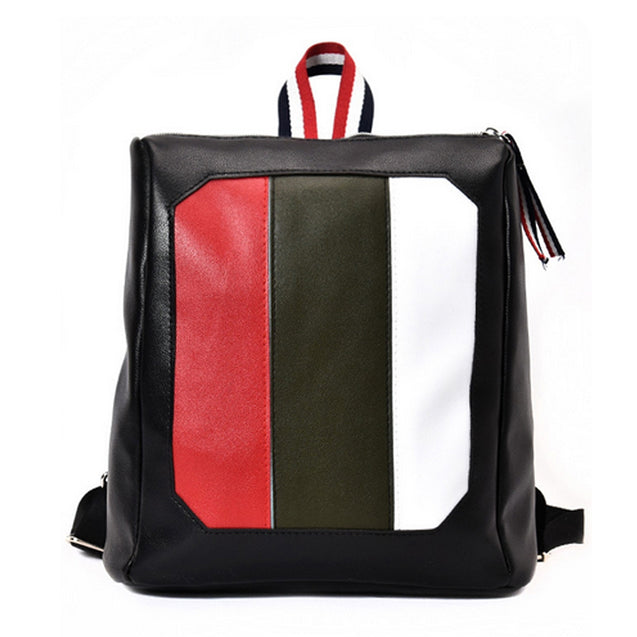 Coupcou.com: Women's Backpack Color Block Preppy Style Faddish All Match Bag