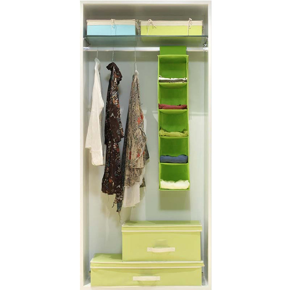 5 Layers of Non-Woven Hanging Storage BagGREEN / SIZE M