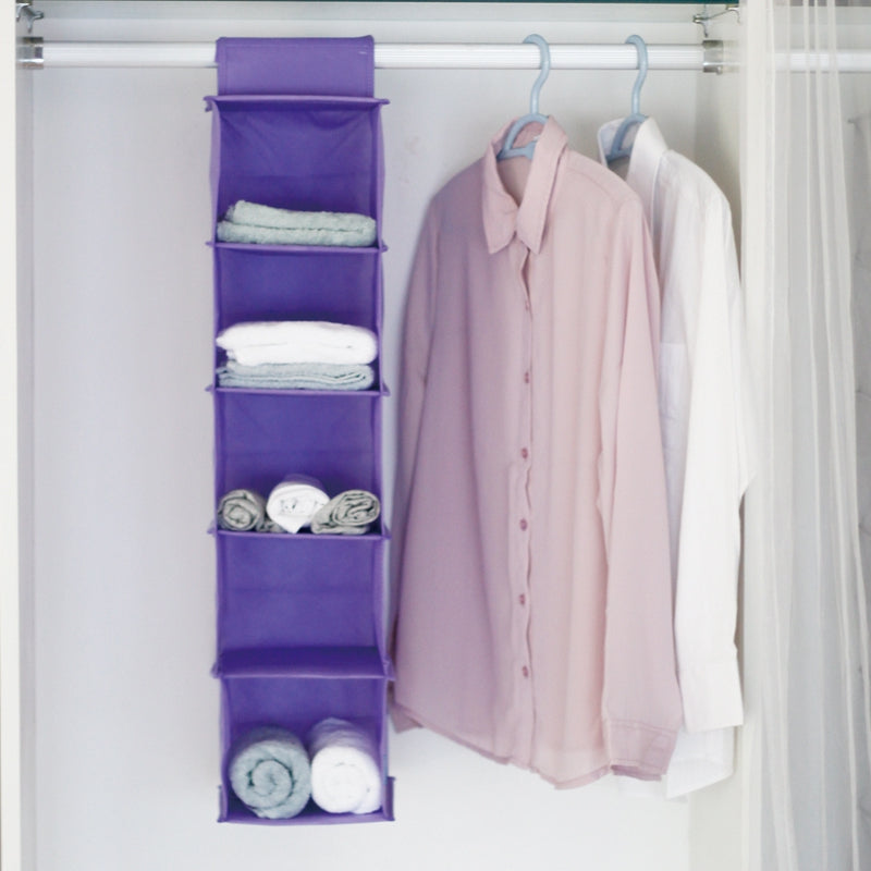 5 Layers of Non-Woven Hanging Storage BagPURPLE / SIZE M