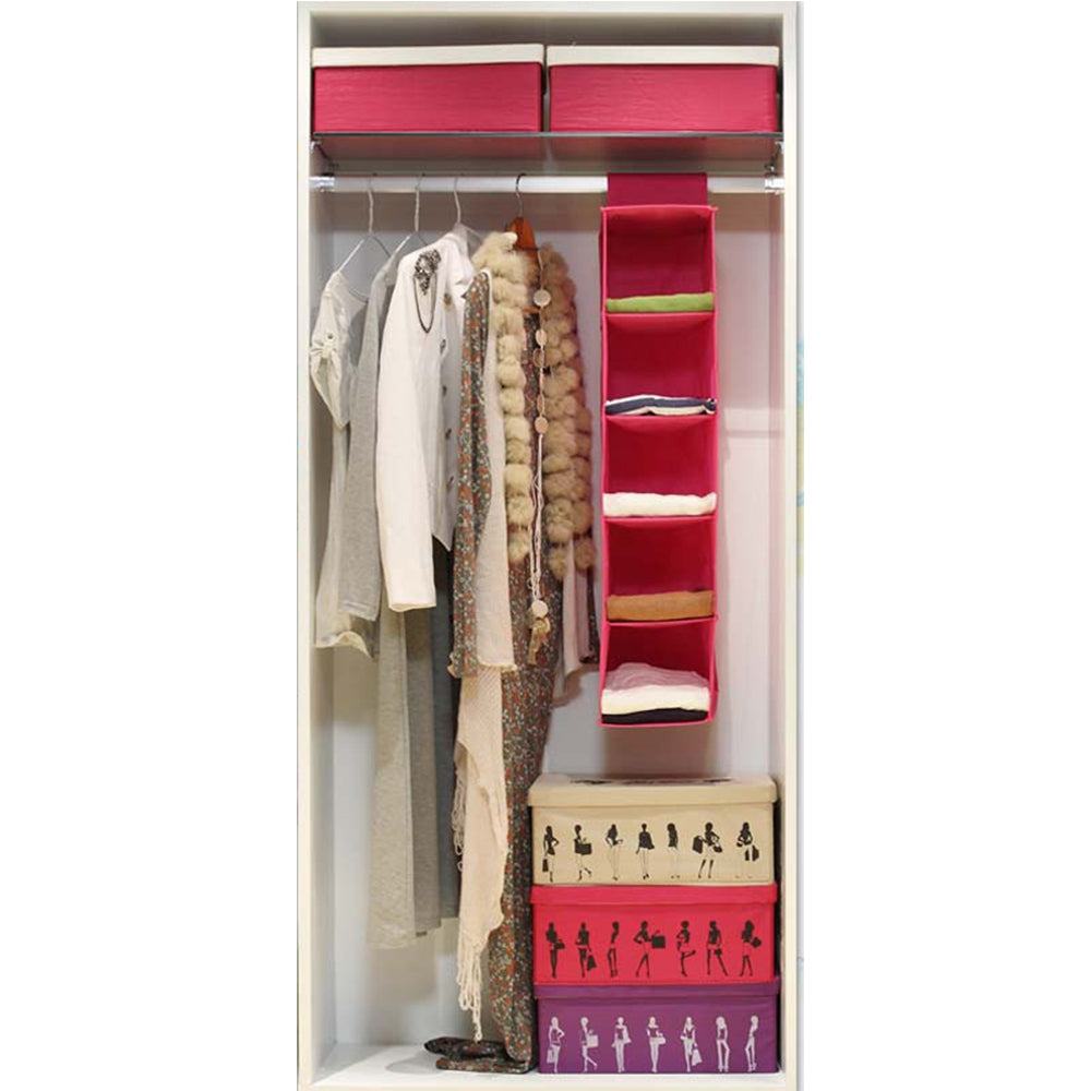 5 Layers of Non-Woven Hanging Storage BagROSE RED / SIZE M
