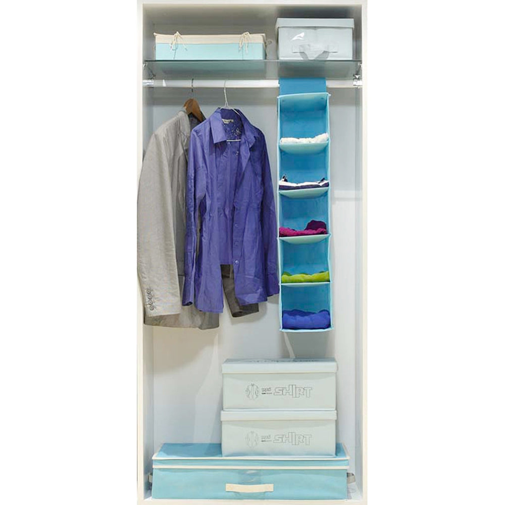 5 Layers of Non-Woven Hanging Storage BagLIGHT BLUE / SIZE M