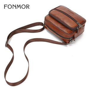 Coupcou.com: Genuine Leather Men Small Bag Shoulder Messenger Bags Travel Waist Pack Phone Pouch