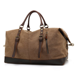 Coupcou.com: AUGUR Oversized Canvas Genuine Leather Trim Travel Tote Duffel Shoulder Handbag Weekend Bag