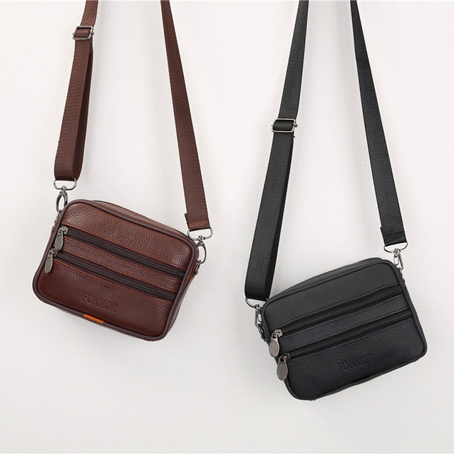 Coupcou.com: New  Cow Genuine Leather Small Crossbody Bag Business Casual Messenger Handbag
